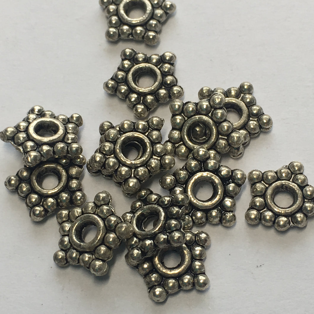 Antique Silver Bali Style Flat Star Daisy Spacer Bead 8 mm - 13 Beads