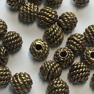 Antique Gold Rope Wrapped Bali Beads, 5 mm - 22 Beads
