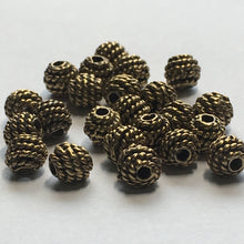 Load image into Gallery viewer, Antique Gold Rope Wrapped Bali Beads, 5 mm - 22 Beads