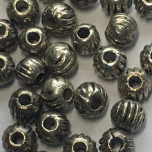 Load image into Gallery viewer, Antique Silver Corrugated Round Beads, 3.5 mm - 30 Beads