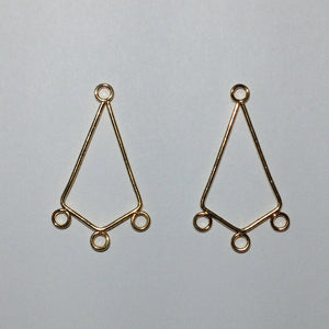 Gold Plated Chandelier Earring Findings, 30 x 20 mm - 1 pair