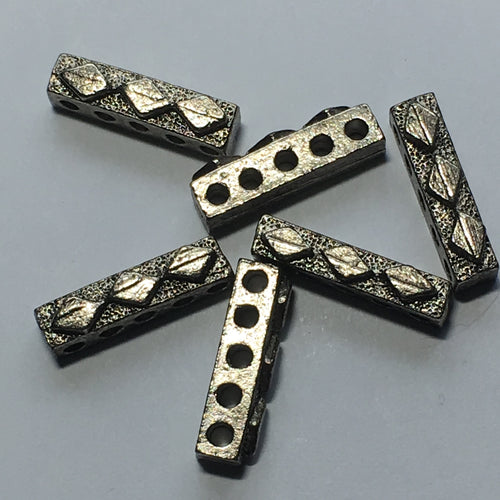 Antique Silver Five-Strand Spacer / Separator Diamonds Bar, 17 x 5 x 4 mm - 6 Bars