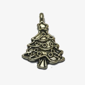 Antique Silver Christmas Tree Charm, 20 x 18 mm