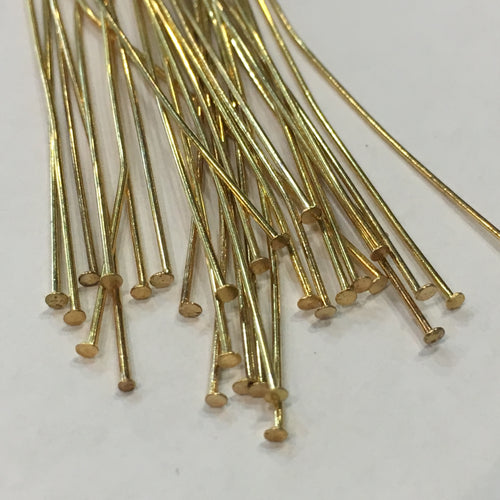 Gold Medium Top Head Pins, 50 mm - 100 Pins