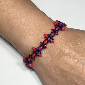 "Bead Kit to Make ""Oh, My Stars! Bracelet"" Red / Blue with Free E-Tutorial starting at $9.99"