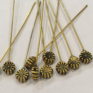 Antique Gold Decorative 6 mm Flower Head Pins, 50 mm - 10 Pins