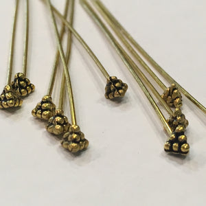 Antique Gold Decorative Ball Pyramid Head Pins, 50 mm - 10 Pins