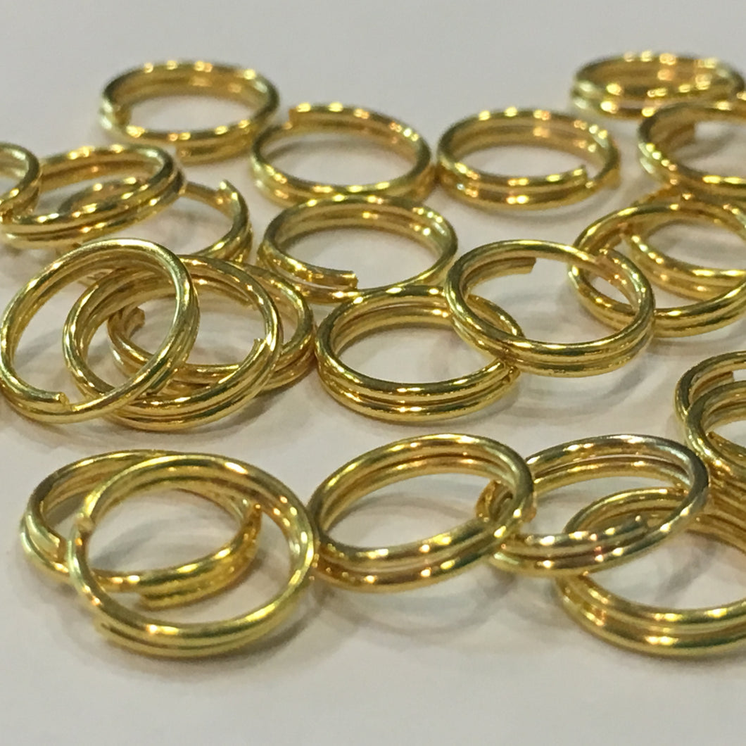 8 mm 21-Gauge Gold Double Jump Rings, 38 Rings