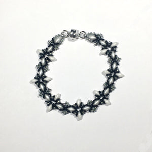 "Bead Kit to Make ""Oh, My Stars! Bracelet"" Black / White / Silver with Free E-Tutorial starting at $9.99"