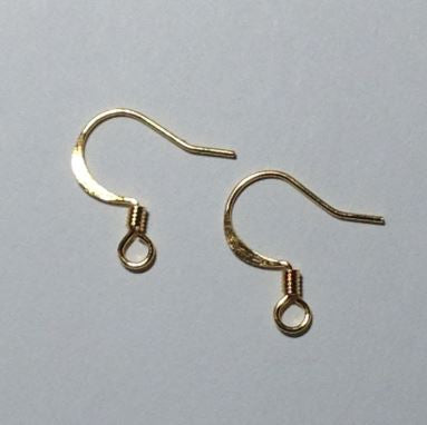 22-Gauge 11 mm Flattened French/Fish Hook Gold Ear Wire 3 mm Coil- 10 Pair