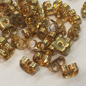 Gold Post Earring Backs (Earnuts) - 8 Large and 36 Medium