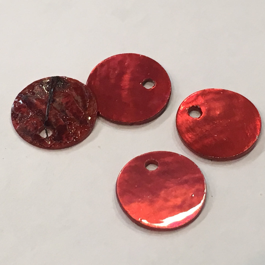 Red Shell Coin Charms 10 mm - 4 Charms