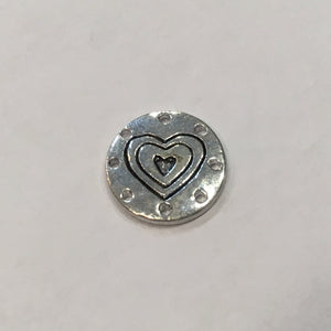 Antique Silver Heart Round Charm, 15 mm