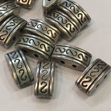 Load image into Gallery viewer, Antique Silver Two-Strand Spacer Bar Beads, 10 x 5 mm - 14 Beads/Bars