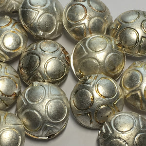 Silver Heavy Metal Clam Shell Beads, Paintable, 19 x 10 mm - 15 Beads