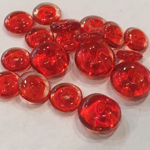 Transparent Red Glass Disc Beads, 6 - 8.5 mm, 19 Beads