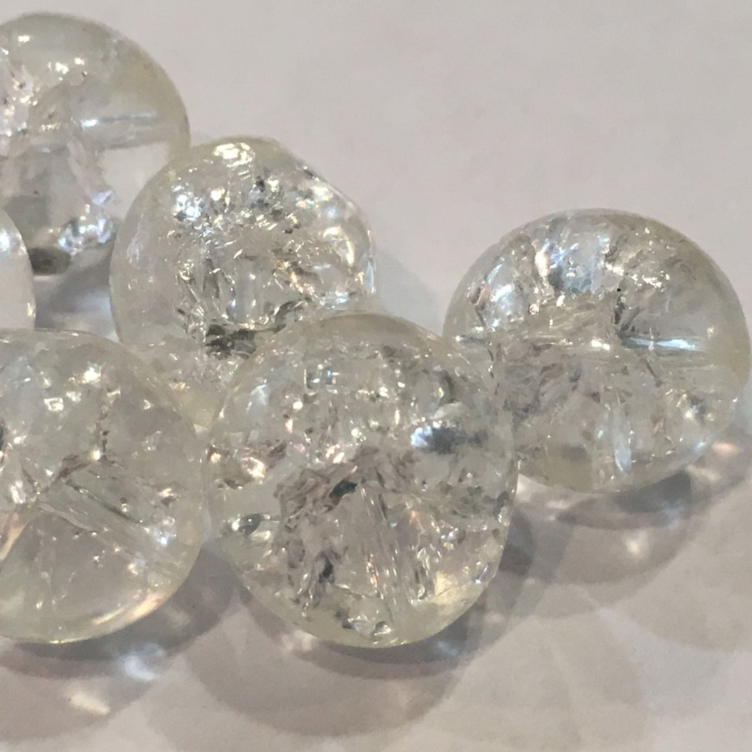 Clear Crackle Glass Faceted Round Beads, 15 mm - 11 Beads