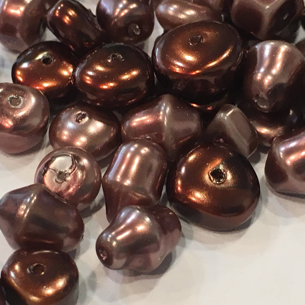 Brown Pearl Glass Beads, Various Shapes and Sizes - 55 Beads