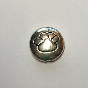 Silver Plated Paw Print Focal Bead, 13 x 4 mm