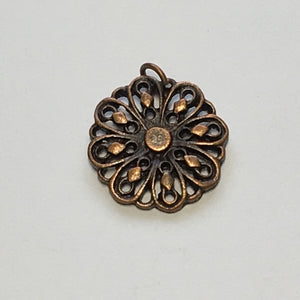Antique Copper Flower Charm, 14 mm