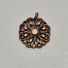 Load image into Gallery viewer, Antique Copper Flower Charm, 14 mm
