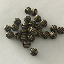 Load image into Gallery viewer, Antique Brass Corrugated Round Beads, 5 mm - 23 or 25 Beads
