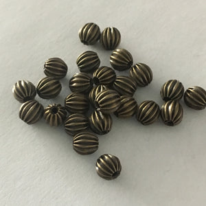 Antique Brass Corrugated Round Beads, 5 mm - 23 or 25 Beads