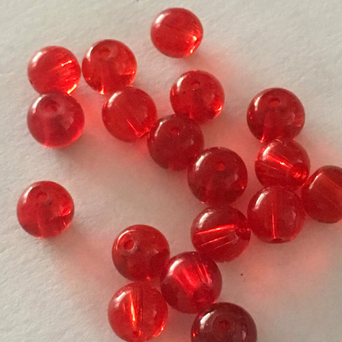 Transparent Ruby Red Glass Round Beads, 29 Beads