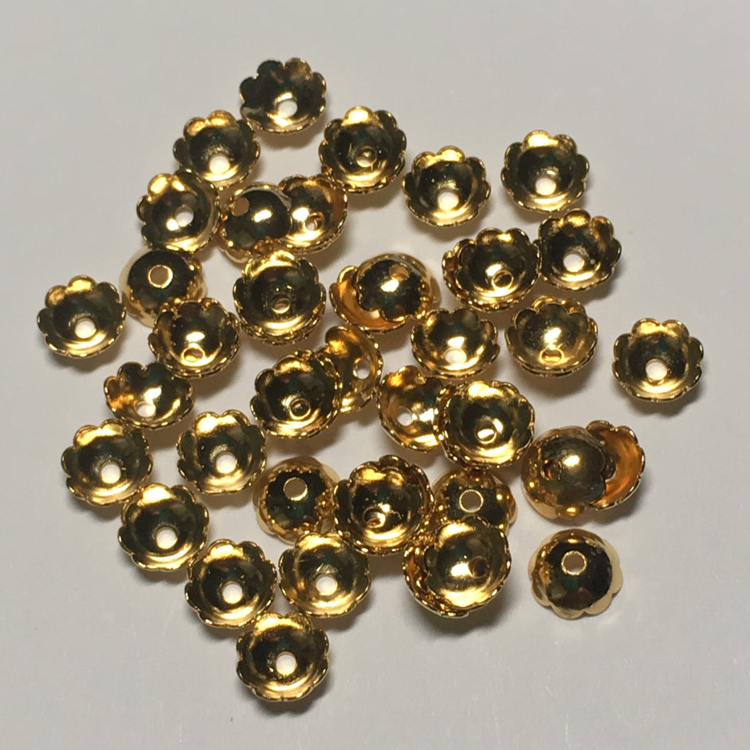 Gold Plated Bead Caps, 6 mm  - 46 or 50 Caps