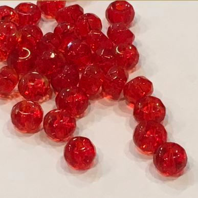 Transparent Red Glass Faceted Rondelle Beads, 4 x 6.5 mm, 36 Beads