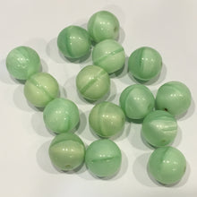 Load image into Gallery viewer, Green Banded Round Glass Beads,  14 mm , 15 Beads