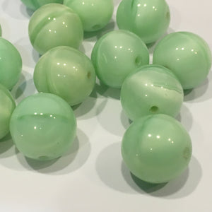 Green Banded Round Glass Beads,  14 mm , 15 Beads
