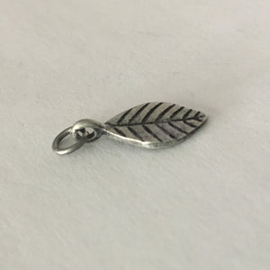 Pewter Finish Leaf Dangle Charm, 17.5 x 10 mm