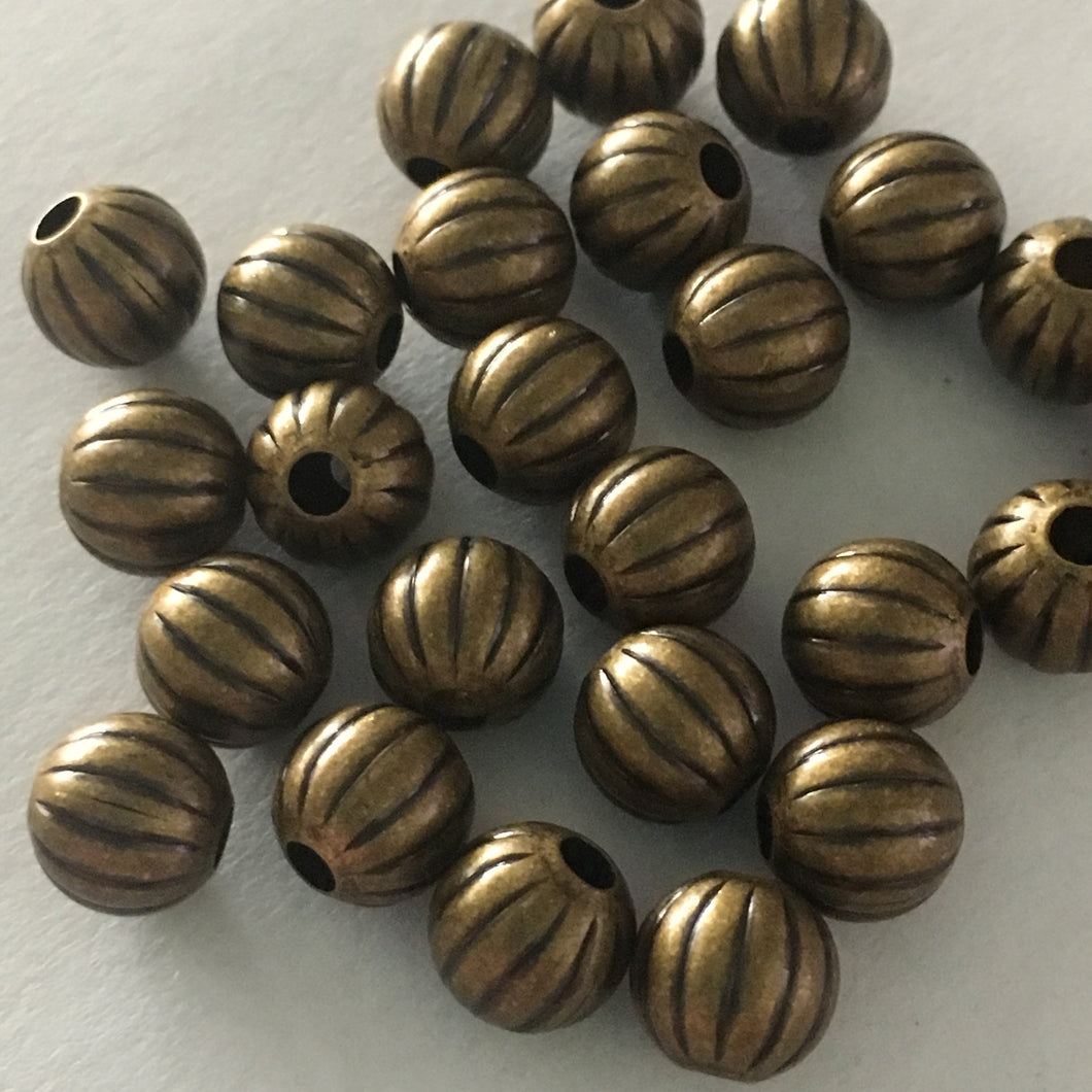 Antique Brass Corrugated Round Beads, 8 mm - 25 Beads