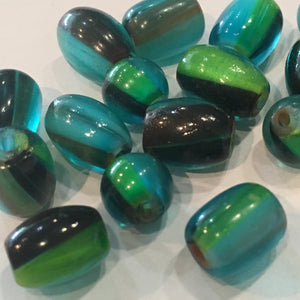 Green, Blue and Black Barrel Glass Beads 8-10 mm, 18 Beads