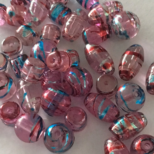 Transparent Pink with Foil Blue, Silver and Red Drizzles Round, Oval and Barrel Glass Beads, 8-10 mm - 40 Beads