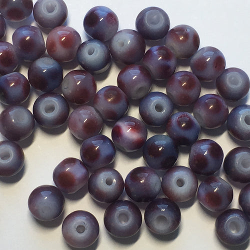 Purple Spotted Glass Round Beads, 6 mm, 48 Beads