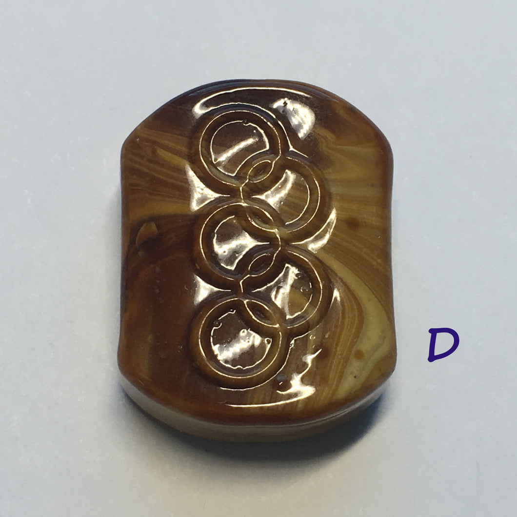 Glass Focal Bead, Two-Strand, 19 x 24 x 10 mm, Bead D