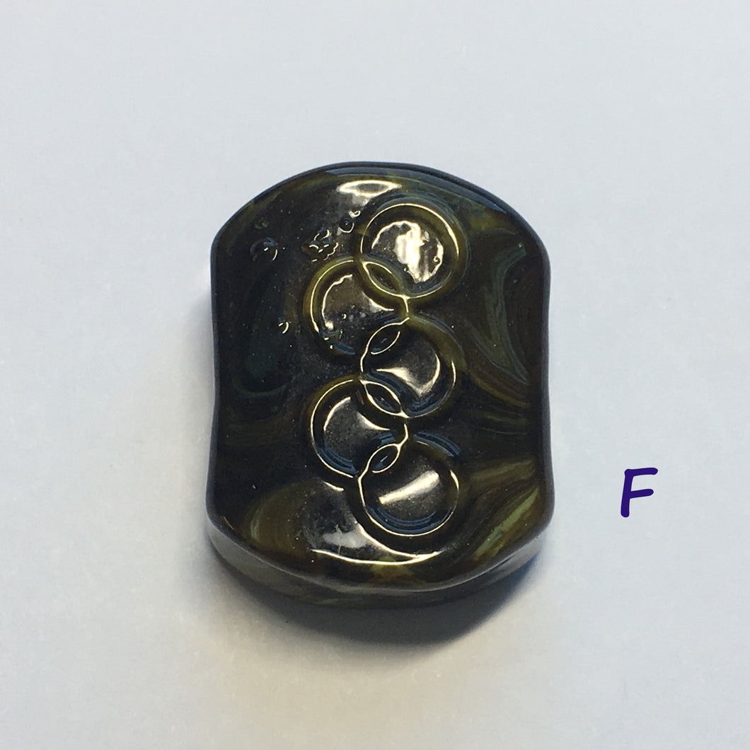 Glass Focal Bead, Two-Strand, 19 x 24 x 10 mm, Bead F
