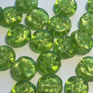 Green Dichroic Dimpled Lampwork Glass Coin Beads 11 x 4 mm  - 21 Beads