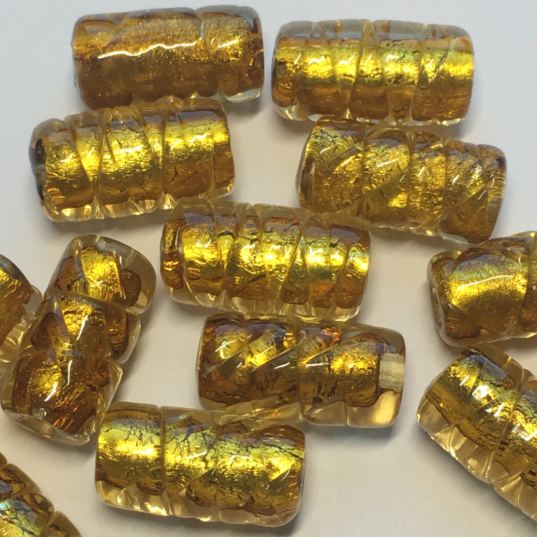Gold Dichroic Textured Lampwork Glass Tube Beads 16 x 8 mm - 15 Beads