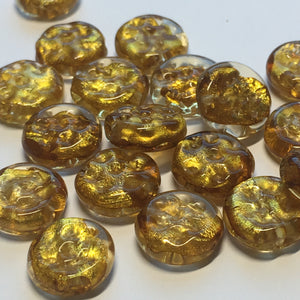 Gold Dichroic Dimpled Lampwork Glass Coin Beads 11 x 4 mm -  20 Beads