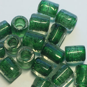 Clear Glass Green Color Lined Lampwork Roller Beads, Average 9 x 7.5 mm - 23 Beads