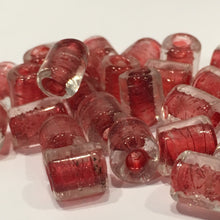 Load image into Gallery viewer, Clear Glass Red Lined Lampwork Glass Roller Beads, Avg 10 x 8 mm - 25 Beads