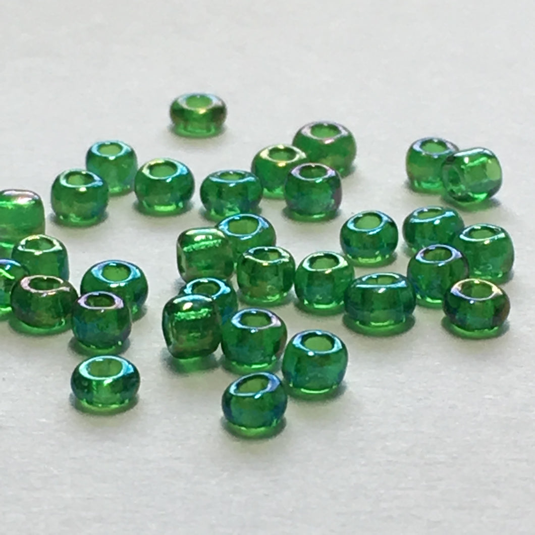 11/0 Transparent Grass Green AB Seed Beads, 5 or 10 gm