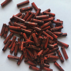Red Painted Black Plastic Bugle Beads, 12 x 3 mm - 100 Beads