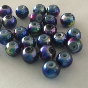 Metallic Blue Round Glass Beads with Pink, Yellow and Silver Stars, 6 mm,  26 Beads