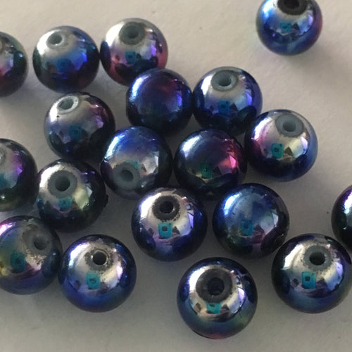 Metallic Blue Round Glass Beads with Pink, Yellow and Silver Stars, 8 mm,  20 Beads