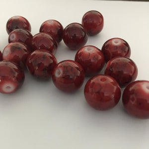 Red and Black Painted Glass Round Beads, 14 mm  - 17 Beads