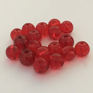 Transparent Red Glass Round Beads, 6 mm, 18 Beads